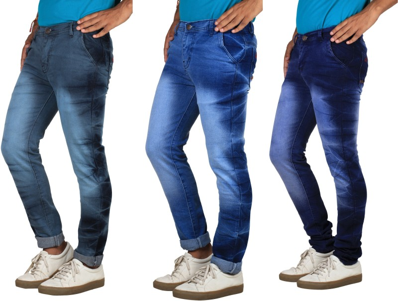 Bdow Slim Men's Multicolor Jeans(Pack of 3)