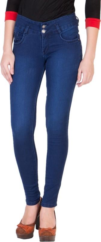Purple Feather Skinny Women Dark Blue Jeans