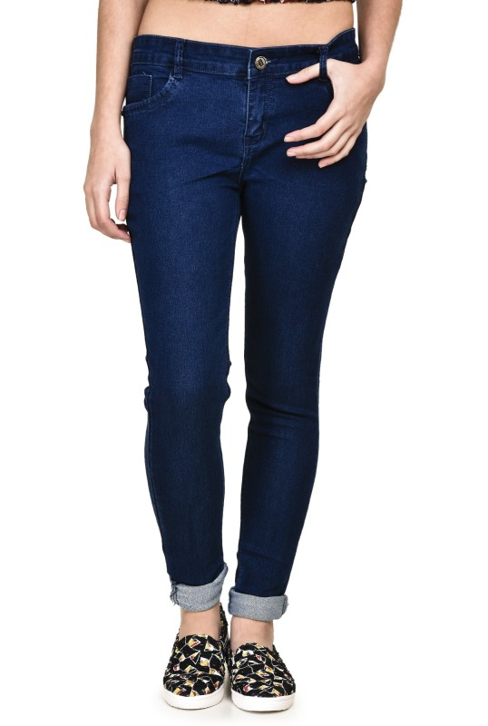 buttun Slim Women Dark Blue Jeans