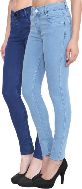 Pop Cherry Slim Women Light Blue, Blue Jeans(Pack of 2)