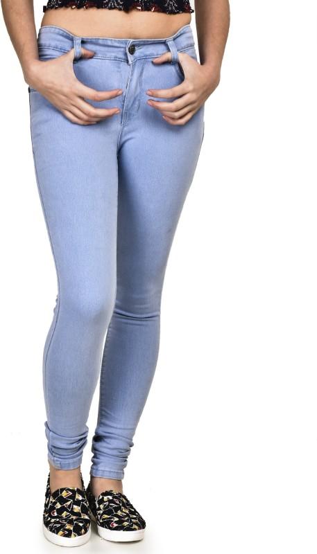 Buttun Skinny Women Light Blue Jeans