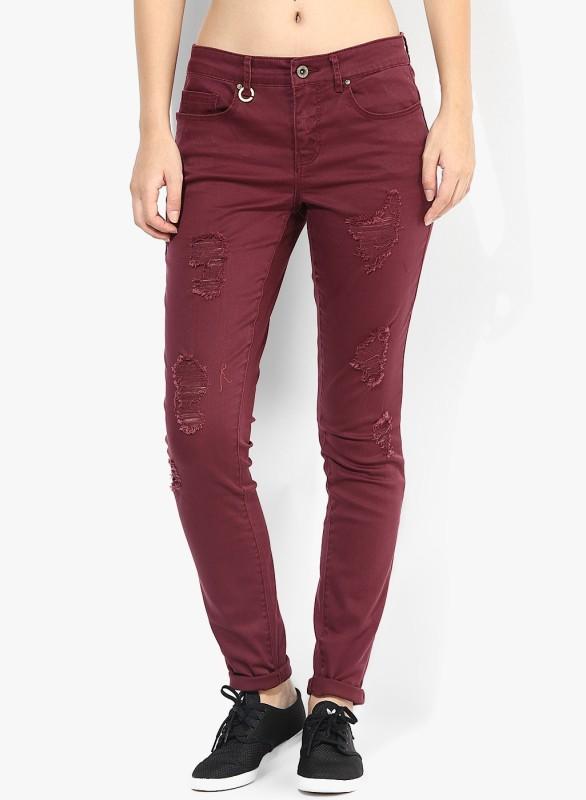 Only Skinny Women Maroon Jeans