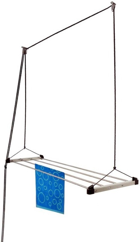 Homwell Rust Proof 4 Pipe X 6 Feet (Blue) with UV protected Nylon Rope Roof Mounted Ceiling Cloth Hanger Stainless Steel Ceiling Cloth Dryer Stand(Blue)