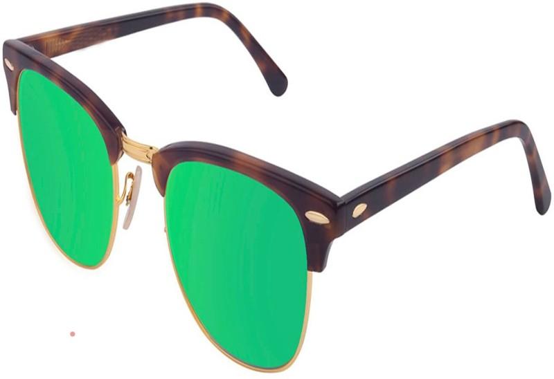 STEPUPP Clubmaster Sunglasses(Green, Golden)