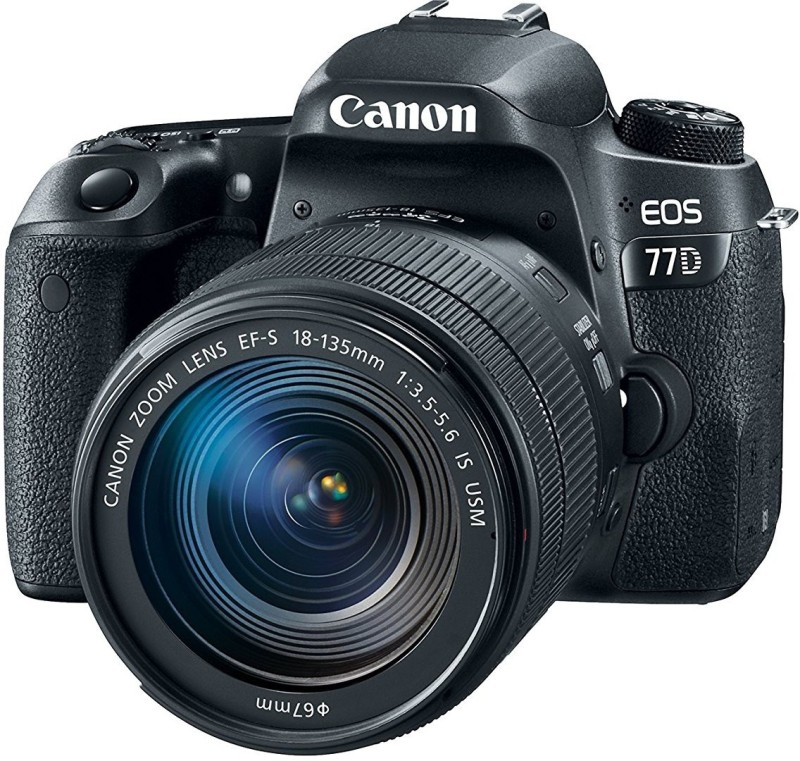 Canon EOS 77D DSLR Camera Body with Single Lens: EF-S18-135 IS USM (16 GB SD Card + Camera Bag)(Black)