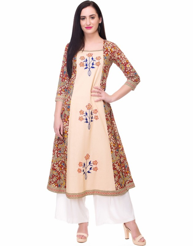 Mokshi Embroidered Women's A-line Kurta(Beige)