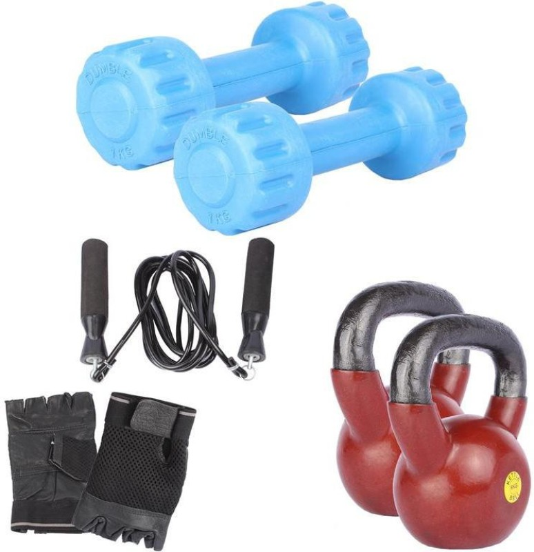 Royal 1 Kg 2 Pc PVC Dumbell with 6 Kg 2 Pc Kettle Bell Skipping Rops & Hand Gloves Home Gym Combo(0 - 20 kg)