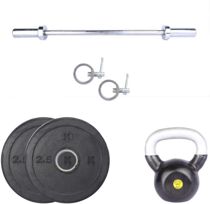 Royal 2.5Kg 2Pc Rubber Plates 55 MM with 8Kg 1Pc Kettle Bell with 1 Silver 3 Ft Straight Olympic Rod With Lock Home Gym Combo(0 - 20 kg)