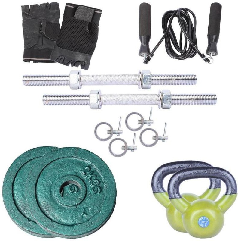 Royal 2Kg 2Pc Casting Plates 27 MM with 4Kg 2Pc Kettle Bell with 2 Silver 14 Inch Handle With Lock Skipping Ropes & Hand Gloves Home Gym Combo(0 - 20 kg)
