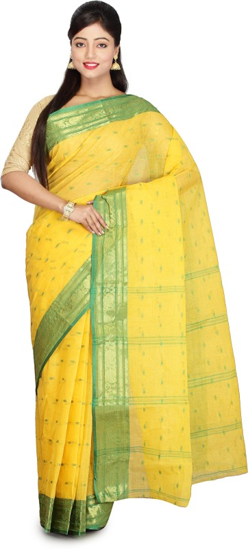 Vintage Violet Woven Bollywood Handloom Cotton Saree(Yellow)