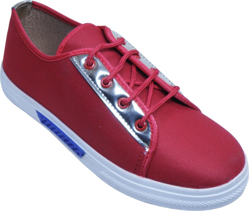 LooksFootwear Casual Sneakers Casuals For Women(Red, White)