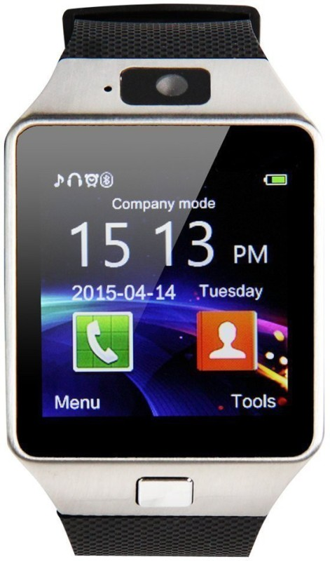 """Wonder World ™ 1.56"""" Capacitive Touch Screen with Sports Pedometer Hands free Photo Taking Wrist Silver Smartwatch(Black Strap Free Size)"""