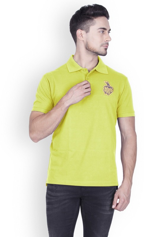 Kolkata Knight Riders Solid Men Polo Neck Light Green T-Shirt