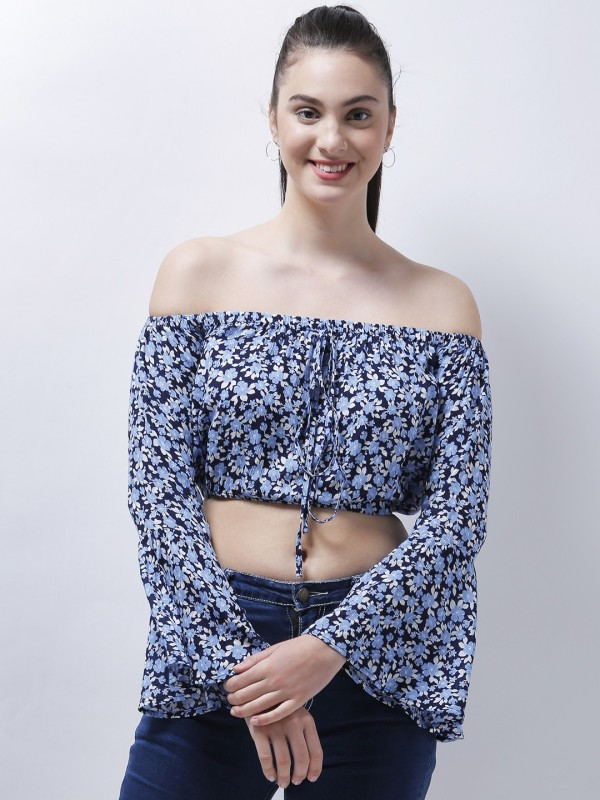 Zastraa Casual Full Sleeve Floral Print Women's Blue Top