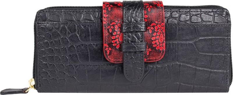 Holii Women Black Genuine Leather Wallet(8 Card Slots)
