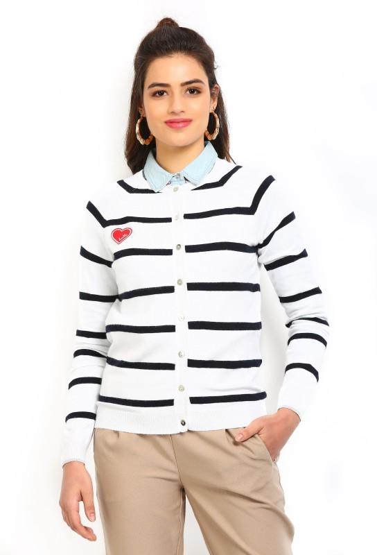 Vero Moda Womens Button Striped Cardigan
