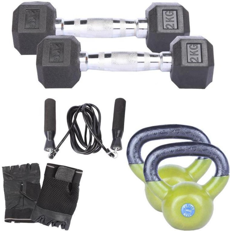 Royal 2 Kg 2 Pc Hexa Gonal Dumbell with 4 Kg 2 Pc Kettle Bell Skipping Rops & Hand Gloves Home Gym Combo(0 - 20 kg)