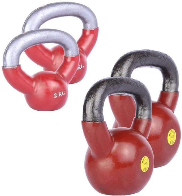 Royal 2 Kg 2 Pc Kettle Bell with 6 Kg 2 Pc Kettle Bell Home Gym Combo(0 - 20 kg)