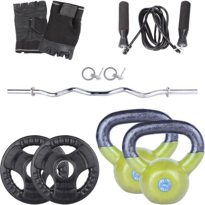 Royal 2.5 Kg 2 Pc Olympic Plates 55 MM with 4 Kg 2 Pc Kettle Bell with 1 Silver 3 Ft Zig Zag Olympic Rod with Lock Skipping Rops & Hand Gloves Home Gym Combo(0 - 20 kg)