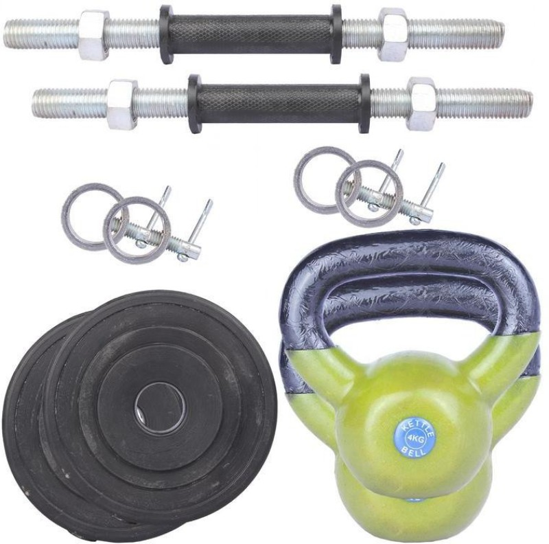 Royal 1 Kg 2 Pc PVC Plates 27 MM with 4 Kg 2 Pc Kettle Bell with 2 Black Handle with Lock Home Gym Combo(0 - 20 kg)