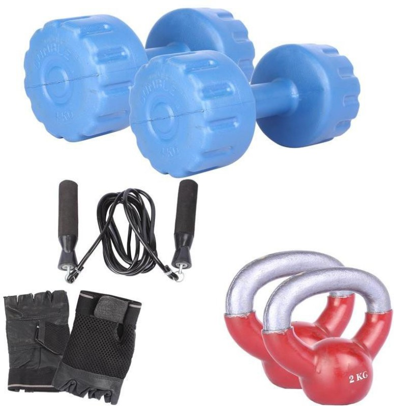 Royal 4 Kg 2 Pc PVC Dumbell with 2 Kg 2 Pc Kettle Bell Skipping Rops & Hand Gloves Home Gym Combo(0 - 20 kg)