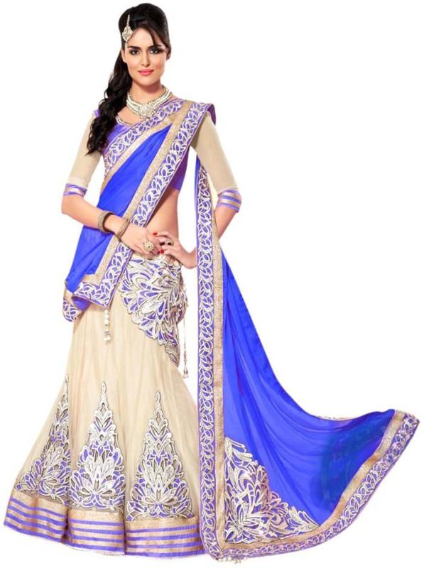 shelvinzas Embroidered Semi Stitched Lehenga, Choli and Dupatta Set(Blue, Beige)