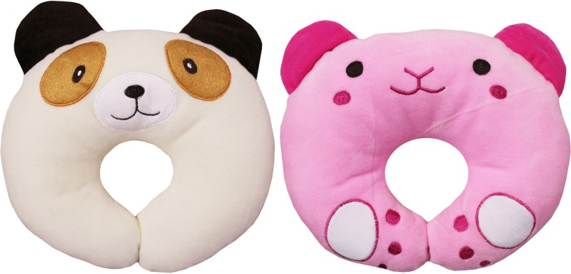 My New Born Foam Cartoon shape Baby Pillow Pack of 2(Pink, Beige)