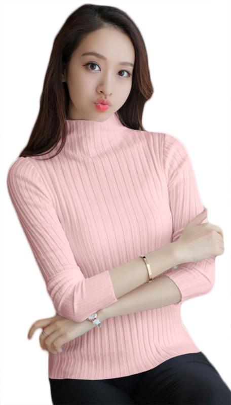 SDK Self Design Women Turtle Neck Pink T-Shirt