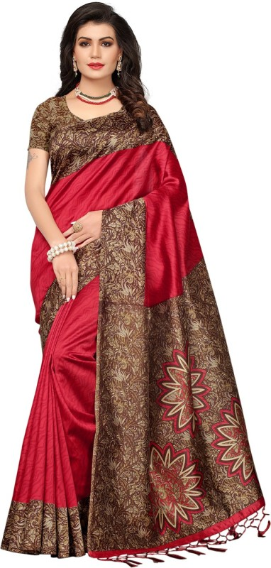 Ratnavati Printed, Self Design, Striped Daily Wear Art Silk Saree(Red)
