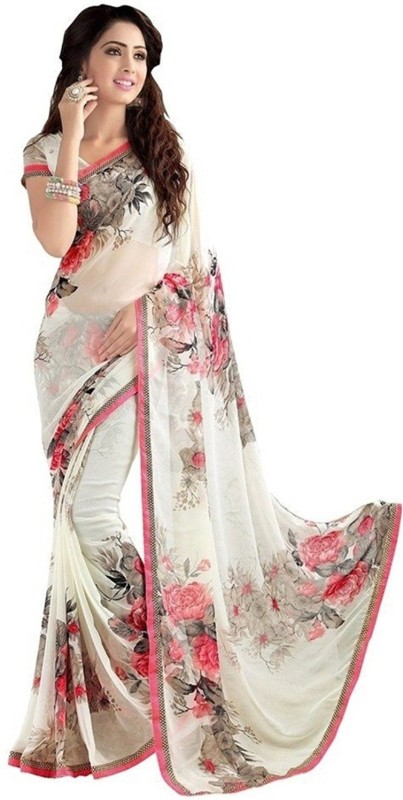 Indianbeauty Floral Print Daily Wear Georgette Saree(White)