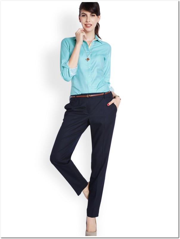 Park Avenue Womens Solid Formal Blue Shirt