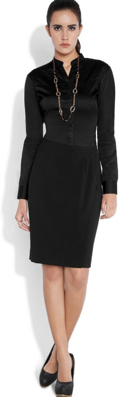Park Avenue Women Solid Formal Black Shirt
