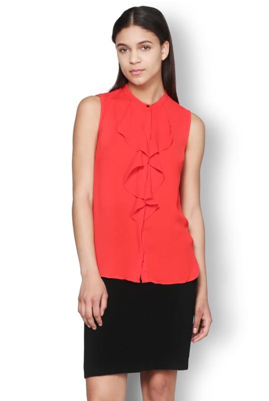 Van Heusen Casual Sleeveless Solid Women's Red Top