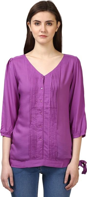Park Avenue Casual Half Sleeve Solid Women's Purple Top
