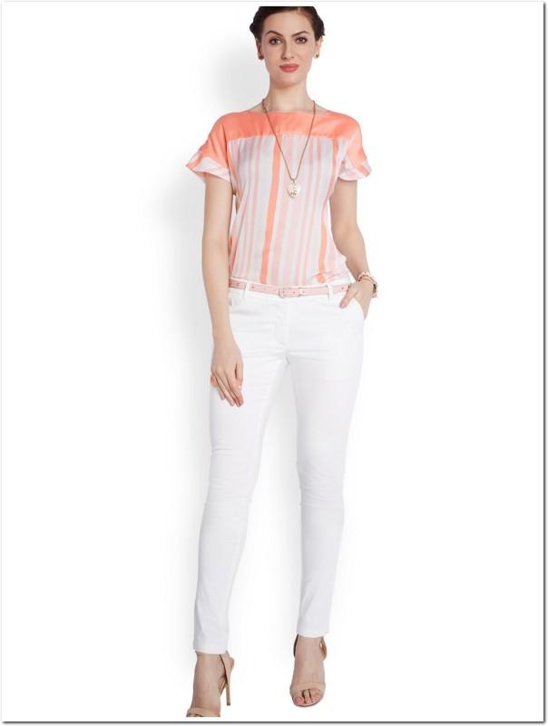 Park Avenue Casual Half Sleeve Printed Women's Orange Top