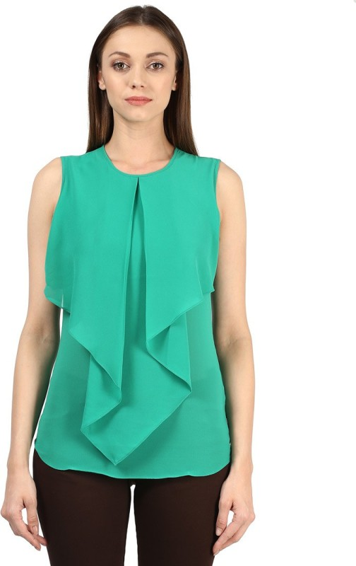 Park Avenue Casual Sleeveless Solid Women's Green Top