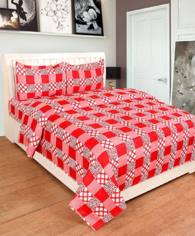 BSB Trendz 180 TC Polycotton Double Checkered Bedsheet(1 Bedsheet 2 Pillow Cover, Red)