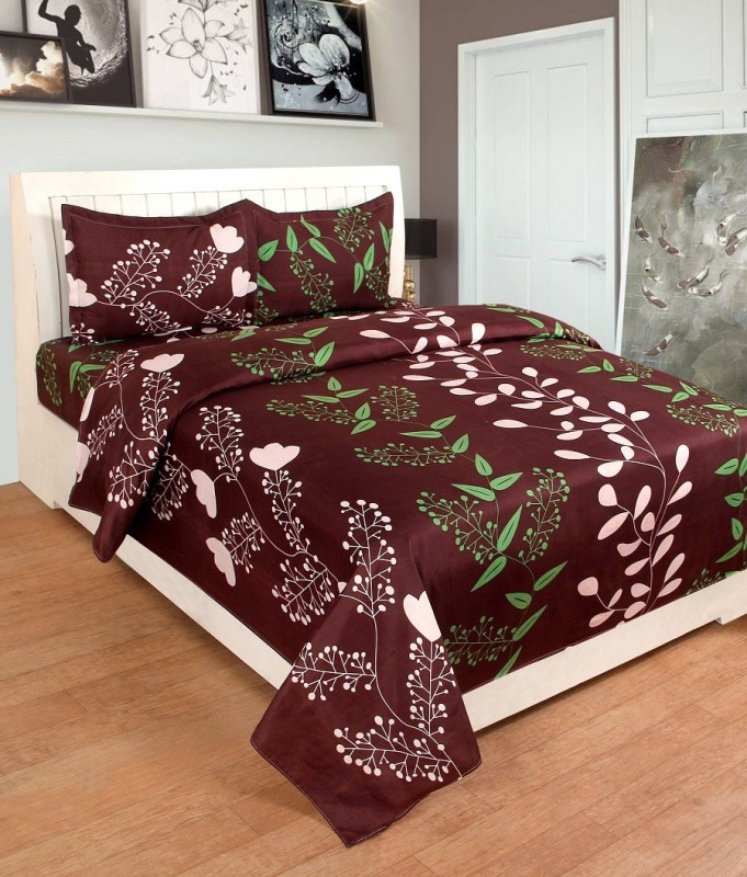 BSB Trendz 180 TC Polycotton Double Printed Bedsheet(1 Bedsheet 2 Pillow Cover, Brown)