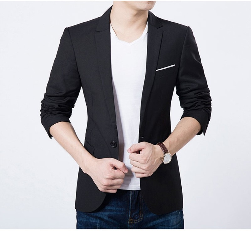 one click Solid Single Breasted Party Men Blazer(Black)
