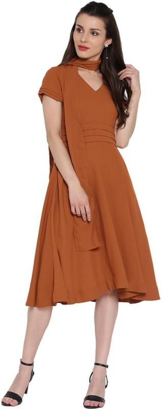 Jaipur Kurti Women Fit and Flare Brown Dress
