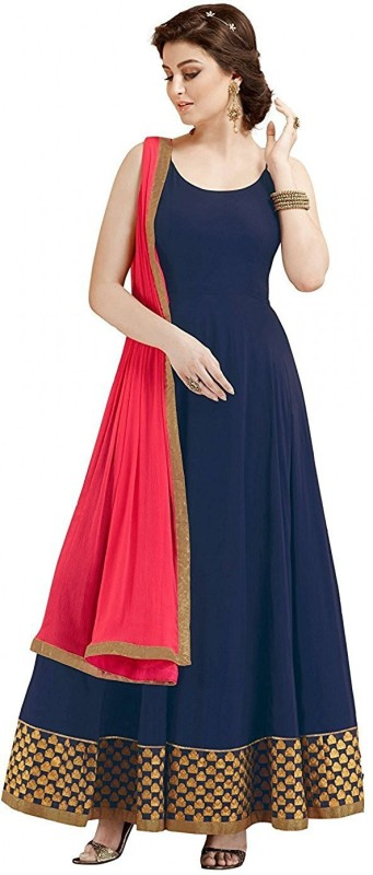 color bucket Georgette Embroidered Semi-stitched Salwar Suit Dupatta Material