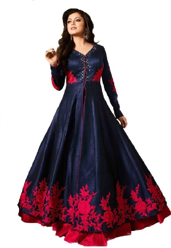 color bucket Silk Embroidered Semi-stitched Salwar Suit Dupatta Material