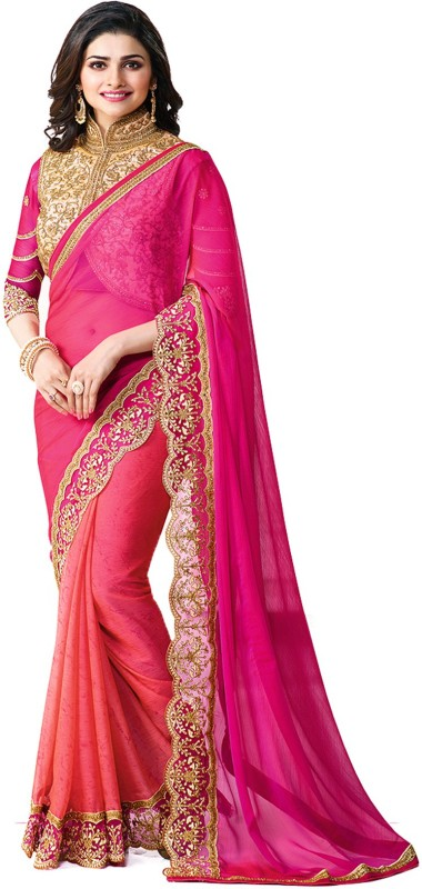 Hinayat Fashion Embroidered Banarasi Silk Saree(Pink)