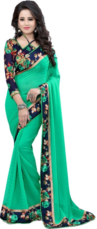 Online Bazaar Floral Print Bollywood Faux Georgette Saree(Green)