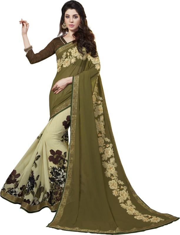 Urban India Floral Print Banarasi Silk Saree(Green)