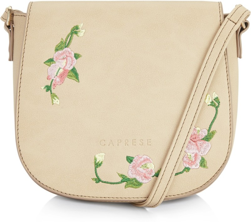 Caprese Women Beige Leatherette Sling Bag