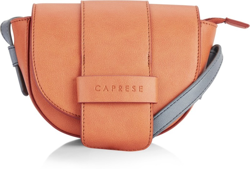 Caprese Women Orange Leatherette Sling Bag
