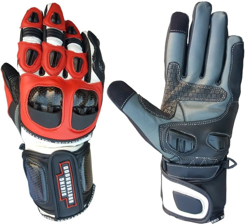 biking brotherhood Full Gauntlet Red XL Riding Gloves (XL, Multicolor)
