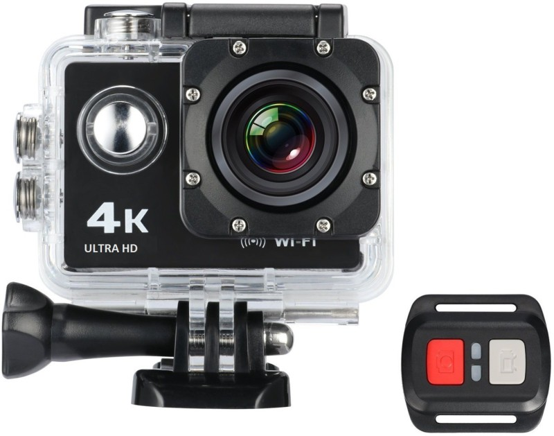 IBS wifi hd action camera Ultra HD Action Camera 4K 30fps Video Photo 170 Degree Fish-Eye Lens Built-in WIFI for Android and IOS Devices with Car Mode Slow Motion and Time Lapse with remote control Sports and Action Camera(Black 12 MP)