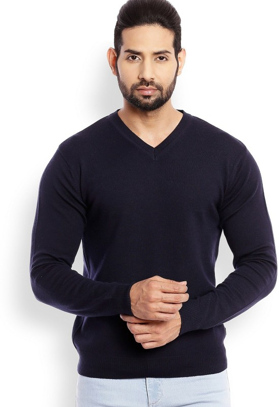 Raymond Solid V-neck Casual Mens Blue Sweater